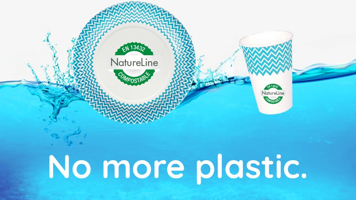 Compostable paper plates and cups instead of plastic