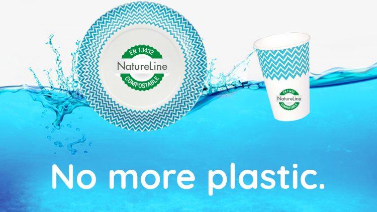 Kompostierbare Pappteller und Becher anstelle von Plastik